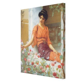 Summer Flowers by John William Godward  Wrapped Ca Canvas Print