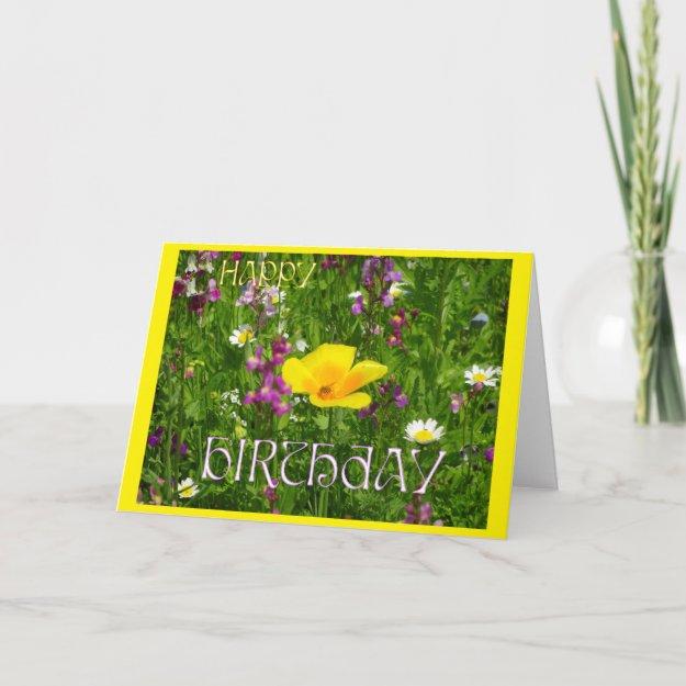 Summer Flowers Cust. Happy Birthday Greeting Card