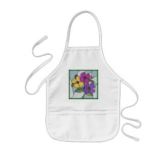Summer Flowers Faux Stained Glass Kids Apron