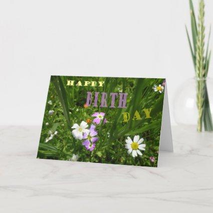 Summer Flowers Happy Birthday Greeting Card