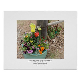 Summer Flowers in Turquoise Pot Posters