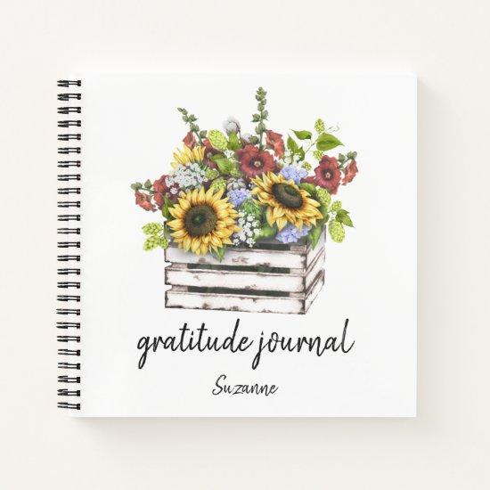Summer Flowers in Wooden Crate Gratitude Journal