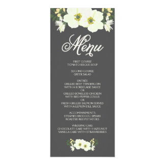 Summer Flowers Menu Card   Yellow & Gray II