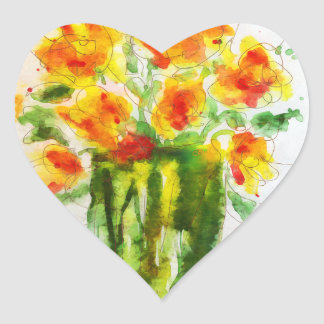 Summer Flowers Orange Splendor Floral Art Heart Sticker