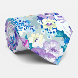 Summer Flowers Pastel Watercolors Illustration Neck Tie