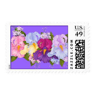 SUMMER FLOWERS POSTAGE STAMPS WITH MATCHING INVITA