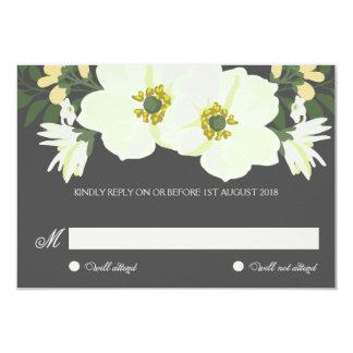 Summer Flowers RSVP Flat Card | Yellow & Gray