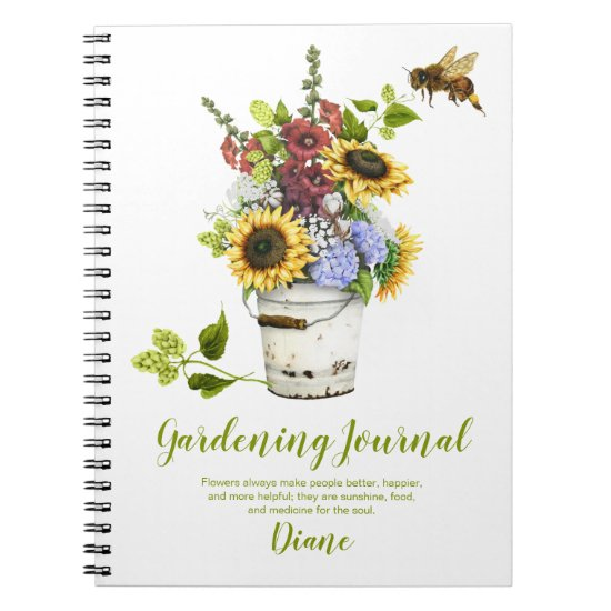 Summer Flowers Rustic Bucket Gardening Journal