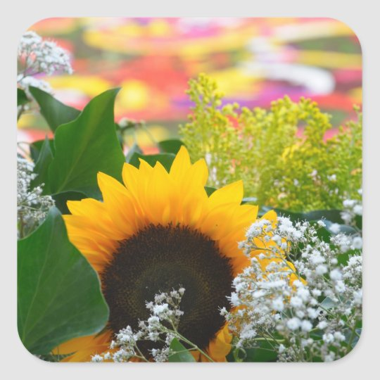 summer flowers square sticker