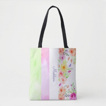 Beach Themed summer flowers watercolor white pink green modern tote bag