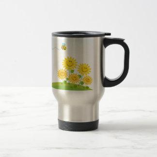 Summer Flowers with Honey Bee Travel Steel Mug