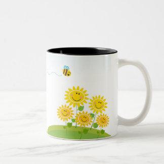 Summer flowers with Honey Bee Two-Tone Mug