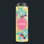"""Summer Flowers Yellow Personalized Thermal Tumbler<br><div class=""""desc"""">NewParkLane - Get ready for summer with this Personalized Thermal Tumbler, with a summery pattern of flowers in pink &amp; teal shades, against a bright yellow background. The tumbler has a hot pink frame for your name, monogram or personal text. A vibrant &amp; dramatic splash of color! Check out this...</div>"""
