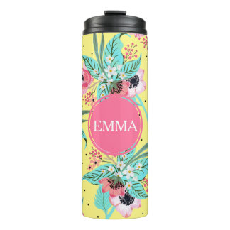 Summer Flowers Yellow Personalized Thermal Tumbler