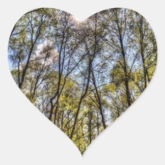 Summer Forest Trees Heart Sticker