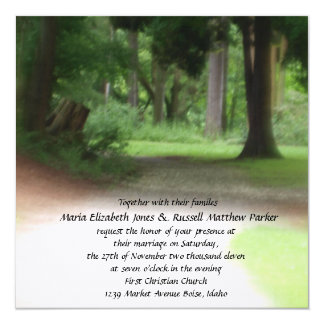 Summer Forest Wedding 5.25x5.25 Square Paper Invitation Card