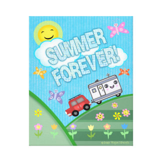 Summer Forever Road Trip Camper Wrapped Canvas Canvas Print