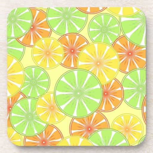 Summer Fresh Citrus Fruit Pattern Drink Coaster