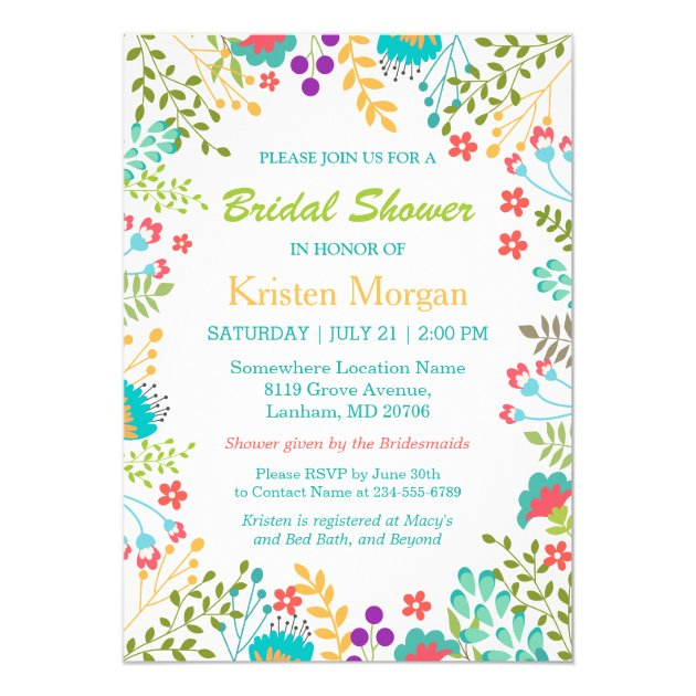 Summer Fresh Floral Teal Blue Bridal Shower Card