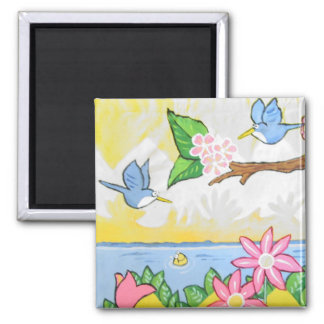 Summer Friends 2 Inch Square Magnet