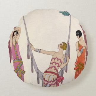 Summer, from 'Gazette du Bon Ton', 1925 Round Pillow