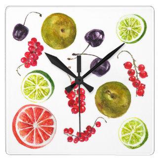 Summer fruit clock. square wall clock