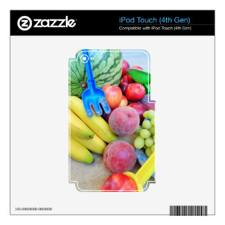 Summer Fruit, Food, Melon, Grapes, Peaches, Banana Skin For iPod Touch 4G
