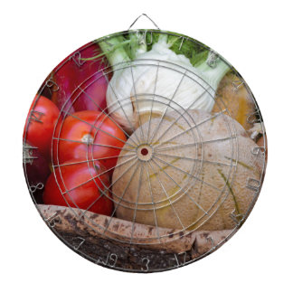 summer fruit in the basket dartboard with darts