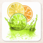 "Summer Fruit Splash ID165 Square Paper Coaster<br><div class=""desc"">A summery image of lemon,  lime and orange slices in a lime green splash. Use exactly as is,  or add text to create a personalized coaster for summer. Search ID165 to see other products with this design.</div>"
