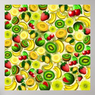 Summer Fruits Juicy Pattern Poster Paper (Matte)