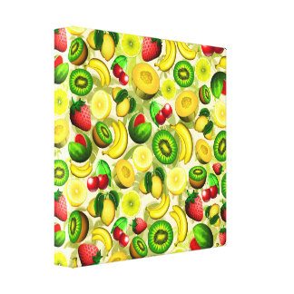 Summer Fruits Juicy Pattern Wrapped Canvas