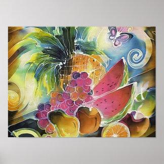Summer Fruits Silk Art Painting Poster