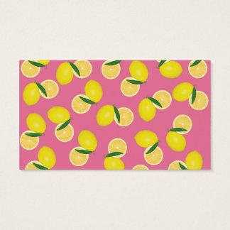 Summer Fruity Yellow Lemons on Pink Business Card