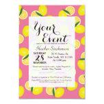 Summer Fruity Yellow Lemons on Pink Card
