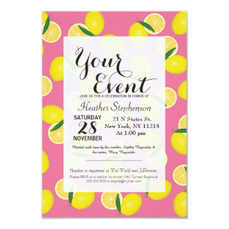 Summer Fruity Yellow Lemons on Pink Card