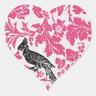 summer Fuchsia floral Tropical Wedding Heart Sticker