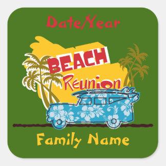 Summer Fun Beach Family Reunion Personalized Stick Square Stickers