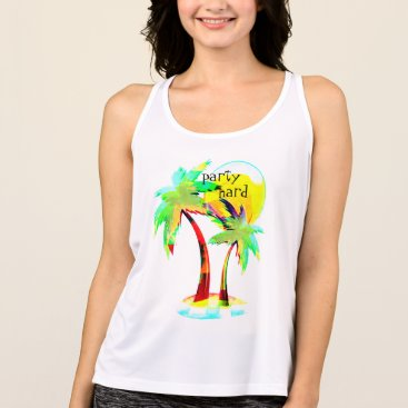Beach Themed summer fun beach party hard palm trees top design