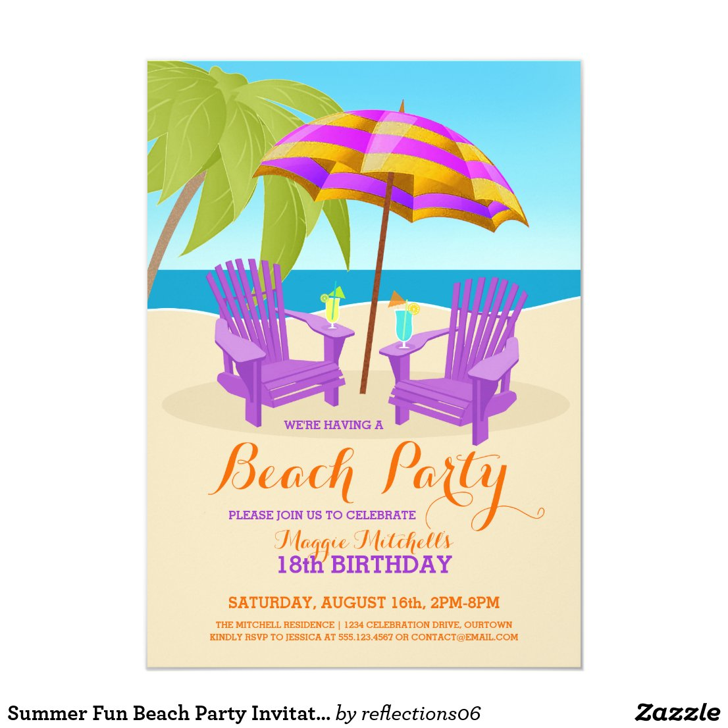 Summer Fun Beach Party Invitations