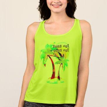 Beach Themed summer fun beach suns out guns out shirt palm tree