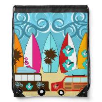 Summer Fun Beach Surfboards Hippie Vans Cinch Bag