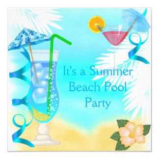 Summer Fun Blue Cocktail Beach Party Card