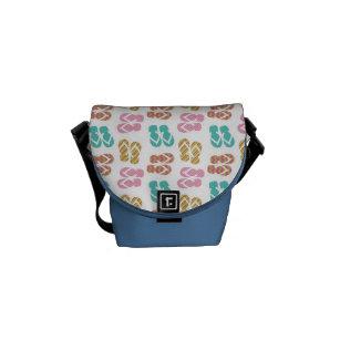 2679a8febc4297 Summer fun blue flip flop sandal slippers pattern messenger bag