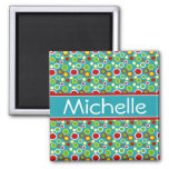 Summer Fun Bubbles Personalized 2 Inch Square Magnet