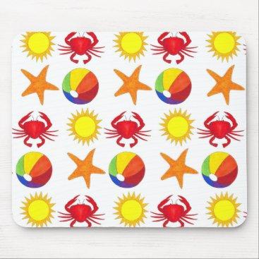 Beach Themed Summer Fun Crab Beach Ball Sunshine Starfish Mouse Pad