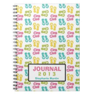 Summer fun flip flop sandal custom year journal spiral note book
