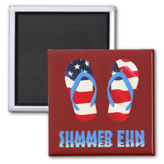 Summer Fun Flip Flop - USA 2 Inch Square Magnet