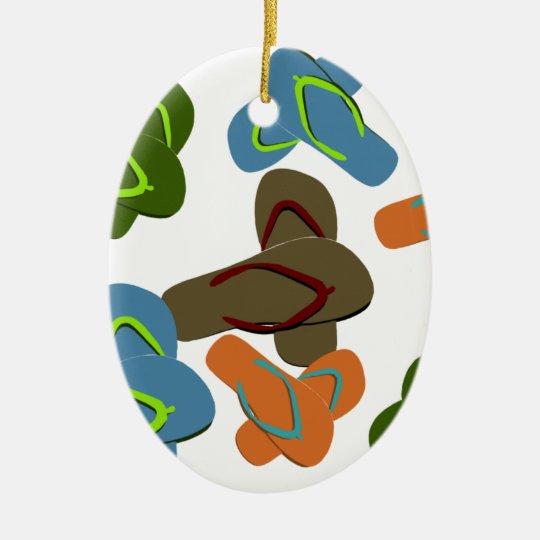 Summer Fun Flip Flops Ceramic Ornament