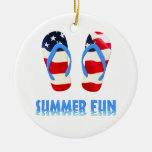 Summer Fun Flip Flops - USA Ornament