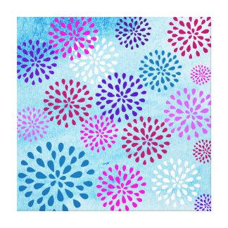 Summer Fun Flower Flower Petals Poms Design Stretched Canvas Prints